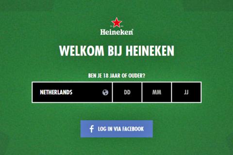 age gate, het leeftijdspoortje Heineken